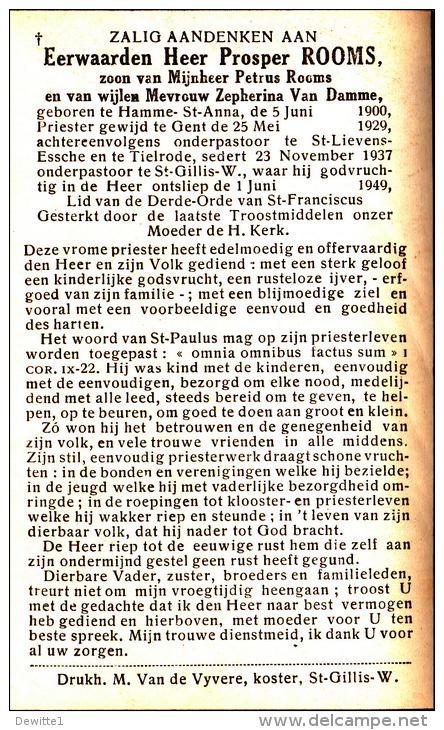 Doodsprentje    - Eerwaarde Heer Prosper Rooms  Onderpastoor Te Sint-Gillis Waas  1900-1949 - Images Religieuses
