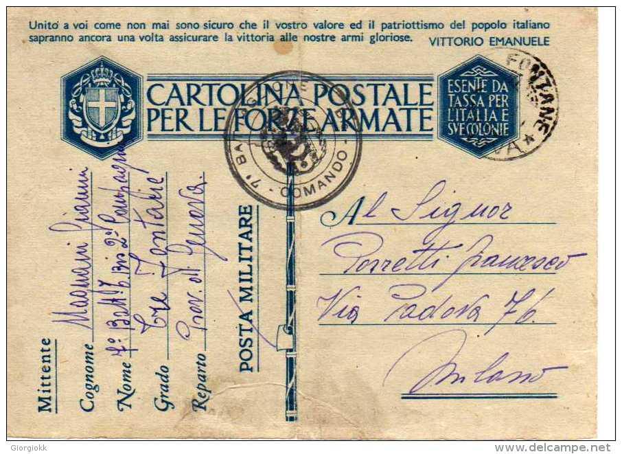 405 SCAT.1 - FRANCHIGIA PER FF.AA. - 1941 -  COMANDO 7° BATTAGLIONE... - Franchigia