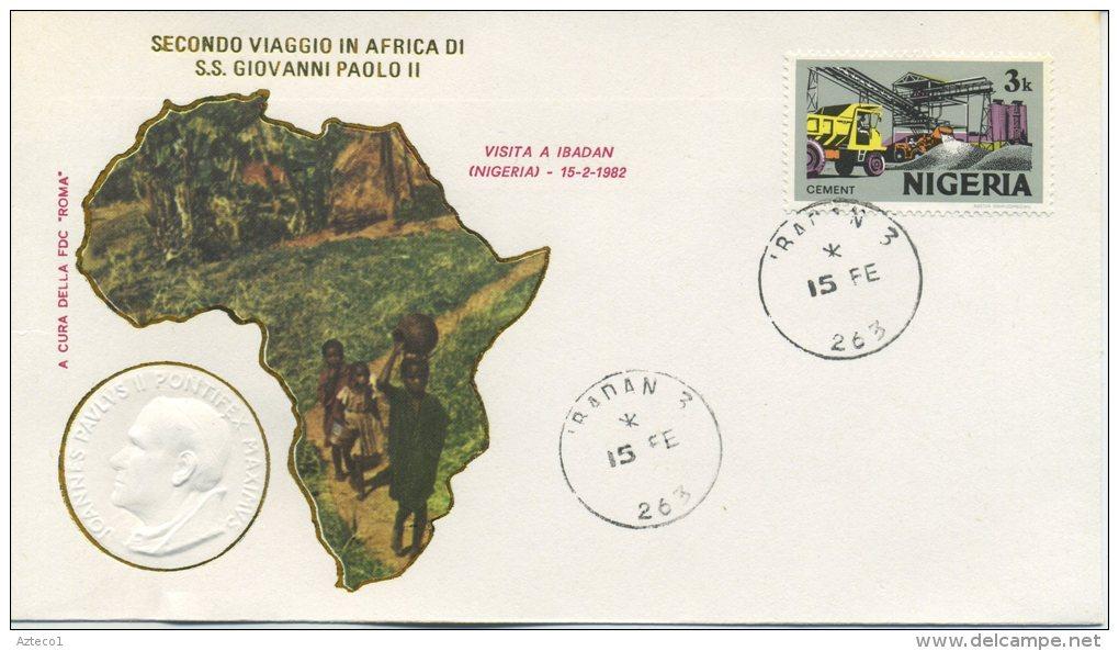 NIGERIA  - FDC ROMA 1982 - VIAGGIO DEL PAPA IN NIGERIA - IBADAN - FDC