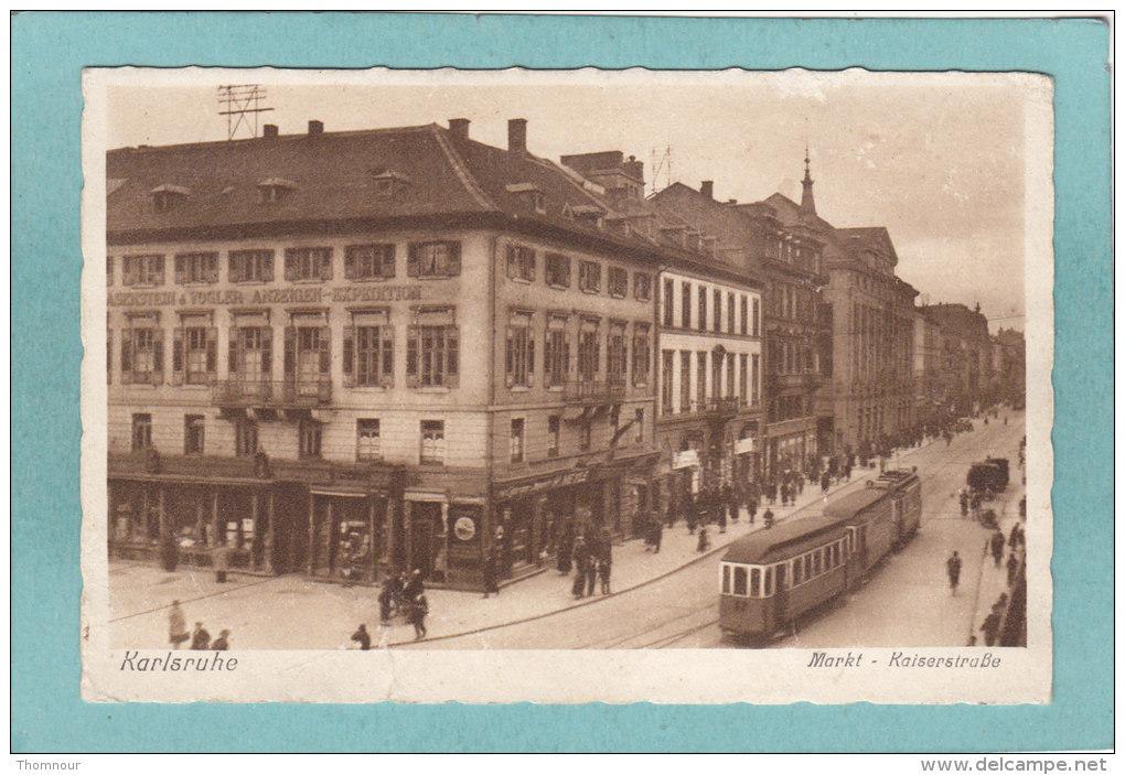 KARLSRUHE  -  MARKT  -  KAISERSTRASSE  -  1944  -   CARTE   ANIMEE -  ( Timbre Enlevé ) - Karlsruhe