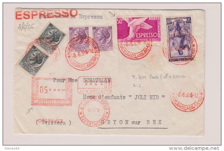 1956 - Lettera Raccomandata Espresso In Tariffa Per La Svizzera - 6. 1946-.. Republik