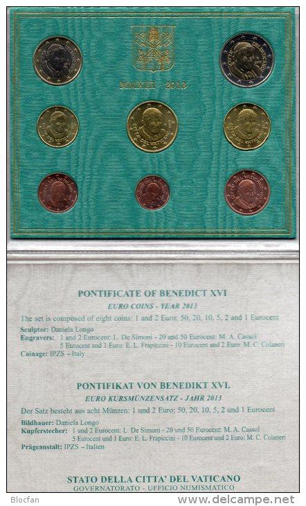 EURO-Blister Vaticano Euromünzen-Satz 2013 Stg 160€ Abschiedsatz Papst Benedict XVI Münzen 0,01-2,00 Set Coin Of Vatikan - Vatican