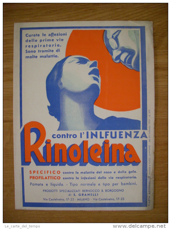 """Carta Assorbente/buvard """"Contro L'influenza RINOLEINA  Di Bernocco  Borgogno"""" 1935 - Carte Assorbenti"""