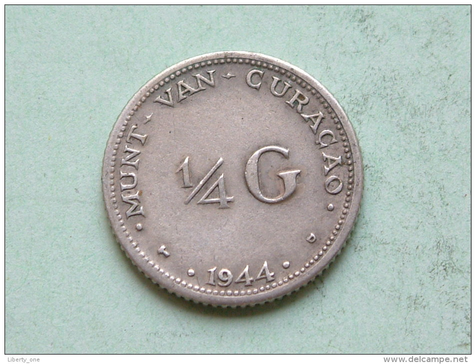 1944 D - 1/4 G / KM 44 ( Uncleaned - For Grade, Please See Photo ) ! - Curacao
