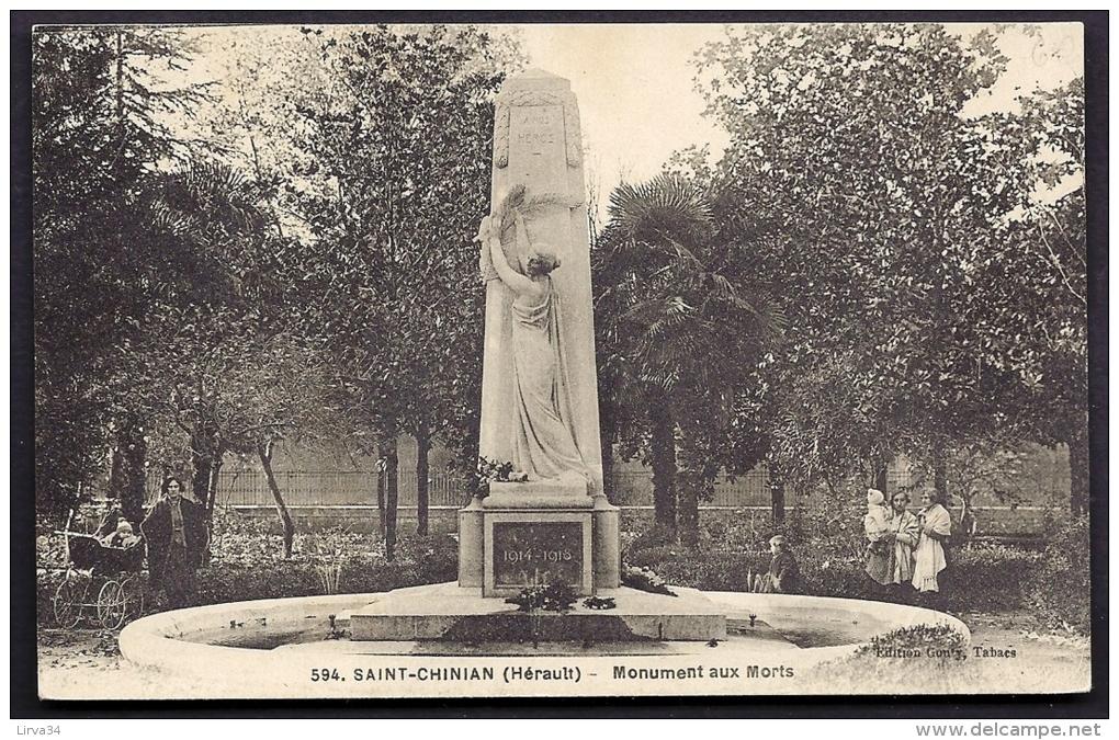 CPA ANCIENNE- FRANCE- SAINT-CHINIAN (34)- LE MONUMENT AUX MORTS EN TRES GROS PLAN- ANIMATION- LANDAU AVEC BÉBÉ- - Non Classés
