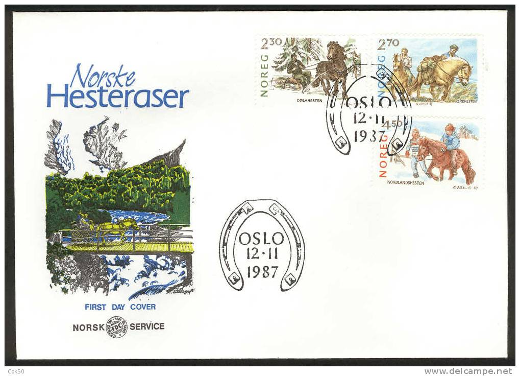NORWAY FDC 1987 «Horses». Perfect, Cacheted Unadressed Cover - FDC