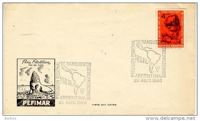 ARGENTINA  1965  1 REUNION REGIONAL DE BANQUEROS LATINOAMERICANOS ; Special Cancell. ; Used Cover - Antarctic Wildlife