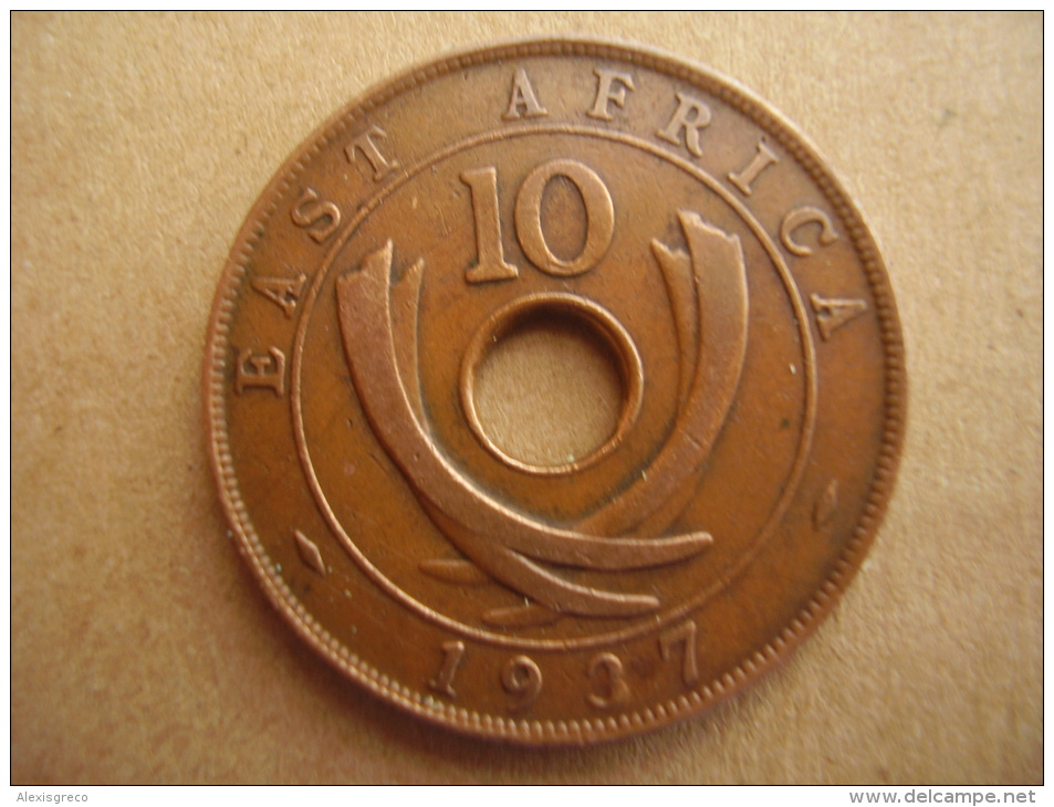 BRITISH EAST AFRICA USED TEN CENT COIN BRONZE Of 1937 (H) - British Colony