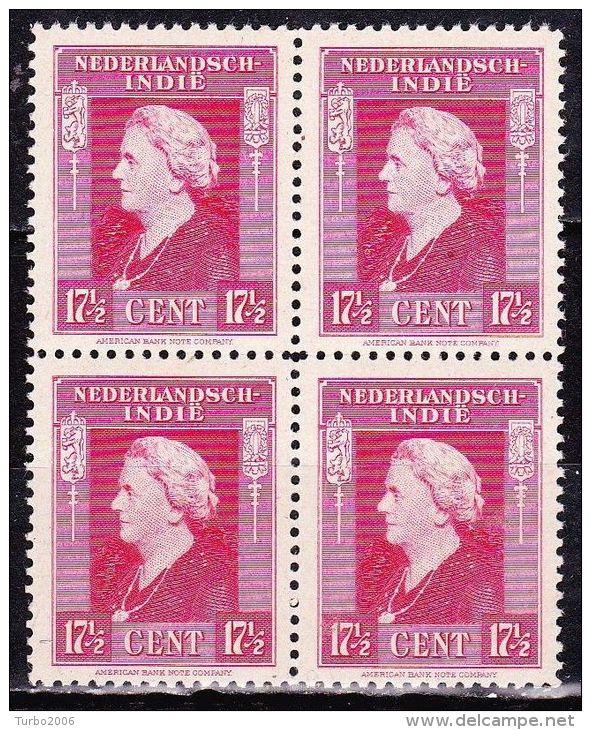 Ned. Indië: 1945-46 Koningin Wilhelmina 17½ Cent Karmijn In Postfris Blok Van 4 NVPH 311 - Indes Néerlandaises