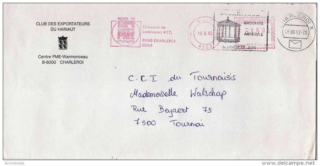EMA Freistempel : Centre PME Charleroi, Gilly - Puzzle 1992 - Double Afranchissement Avec Kiosque Godarville ! - Poststempel