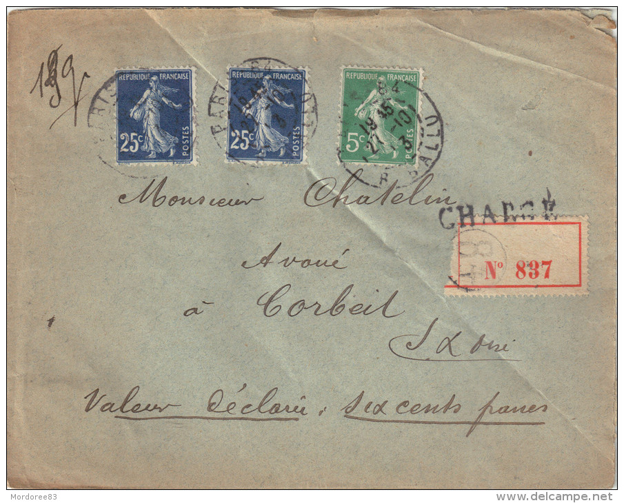 LETTRE CHARGE AU 3ECH PARIS 27/10/1913 SEMEUSE 25CX2 N°140 ET 5C N°137 POUR CORBEIL 2SCAN - 1877-1920: Semi-Moderne
