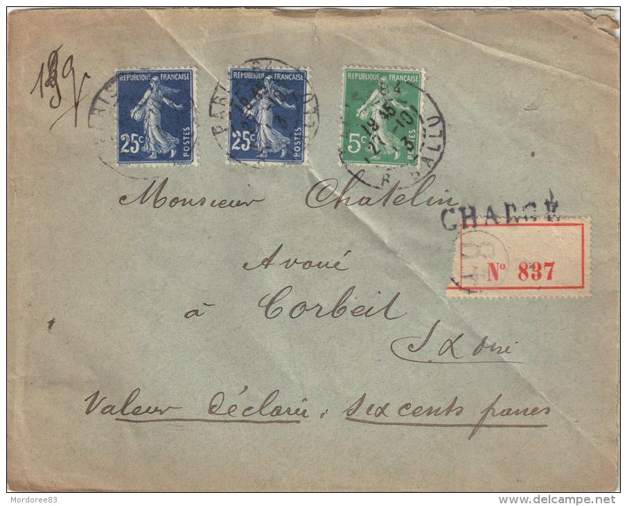 LETTRE CHARGE AU 3ECH PARIS 27/10/1913 SEMEUSE 25CX2 N°140 ET 5C N°137 POUR CORBEIL 2SCAN - 1877-1920: Periodo Semi Moderno