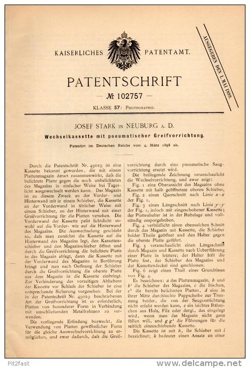 Original Patentschrift - J. Stark In Neuburg A.d. Donau , 1898 , Wechselkassette , Platten - Photographie , Fotografie ! - Glasdias