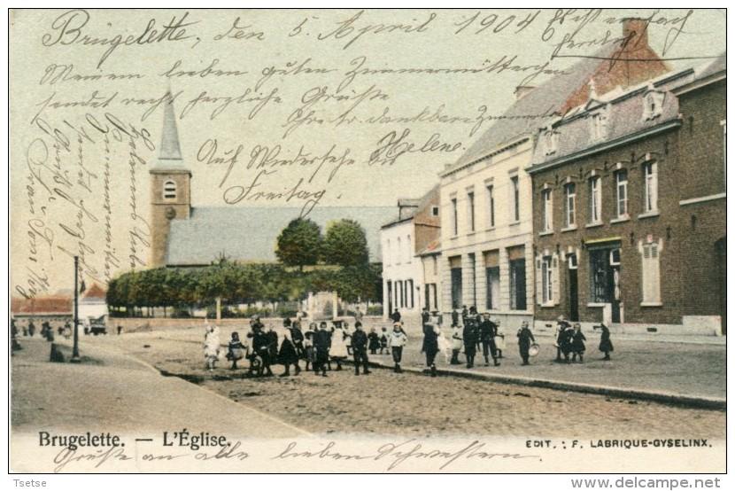 Brugelette - L´Eglise - Carte Couleur, Animée D´un Groupe D´enfants -1904 ( Voir Verso ) - Brugelette