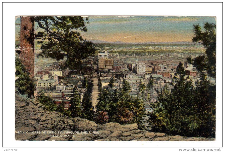 Etats Unis: Spokane, A Glimpse Of The City, Through The Pines (13-2731) - Spokane