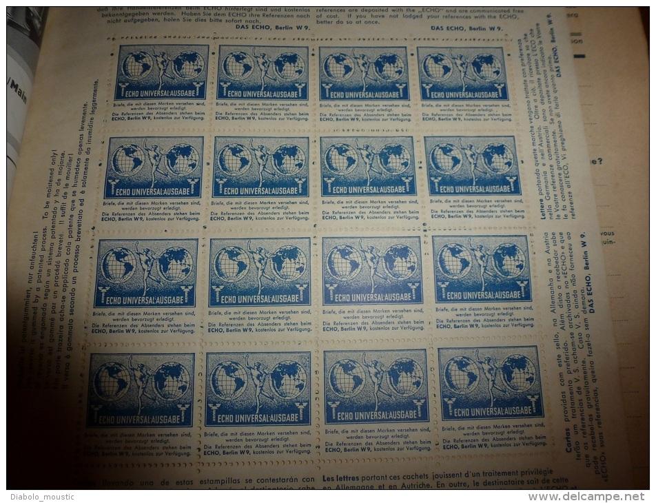 Rare: 16 Timbres Allemands 1937 (comme Neufs) ECHO UNIVERSAL-AUSGABE  Dans Revue Allemande DAS ECHO 1937 - Blocs & Feuillets