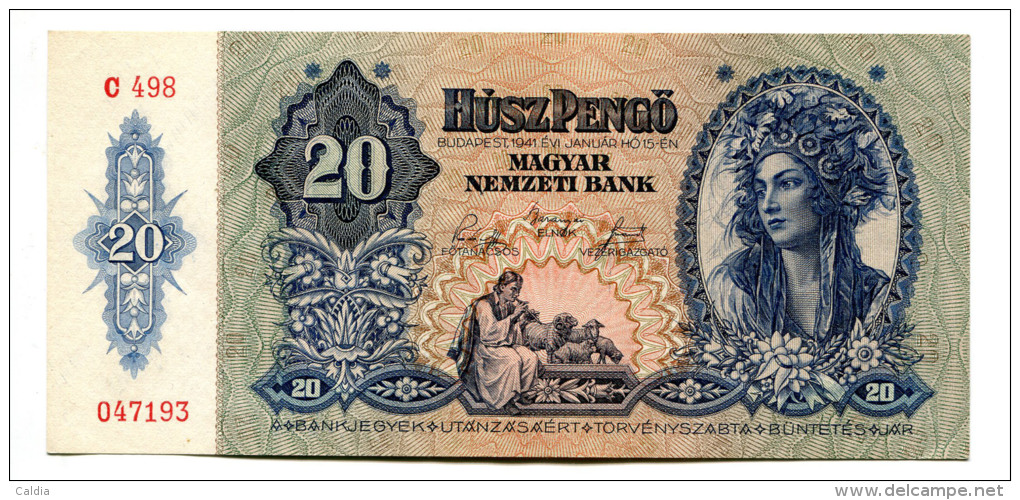 Hongrie Hungary Ungarn 20 Pengo 1941 UNC # 5 - Hongrie