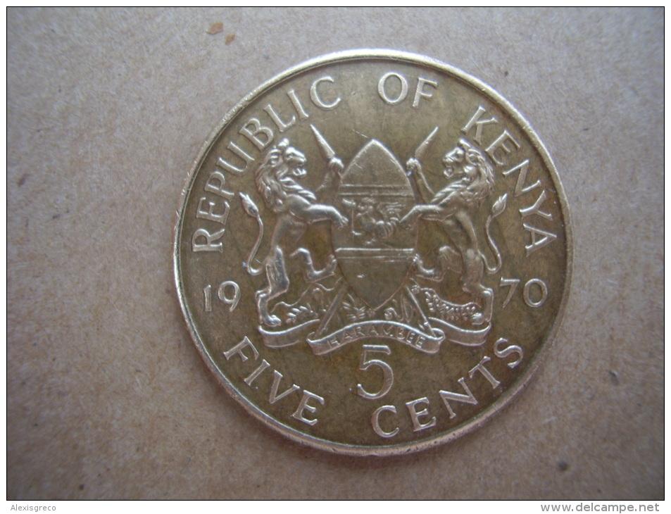 KENYA 1970 FIVE CENTS   KENYATTA Nickel-Brass  USED COIN In GOOD CONDITION. - Kenya