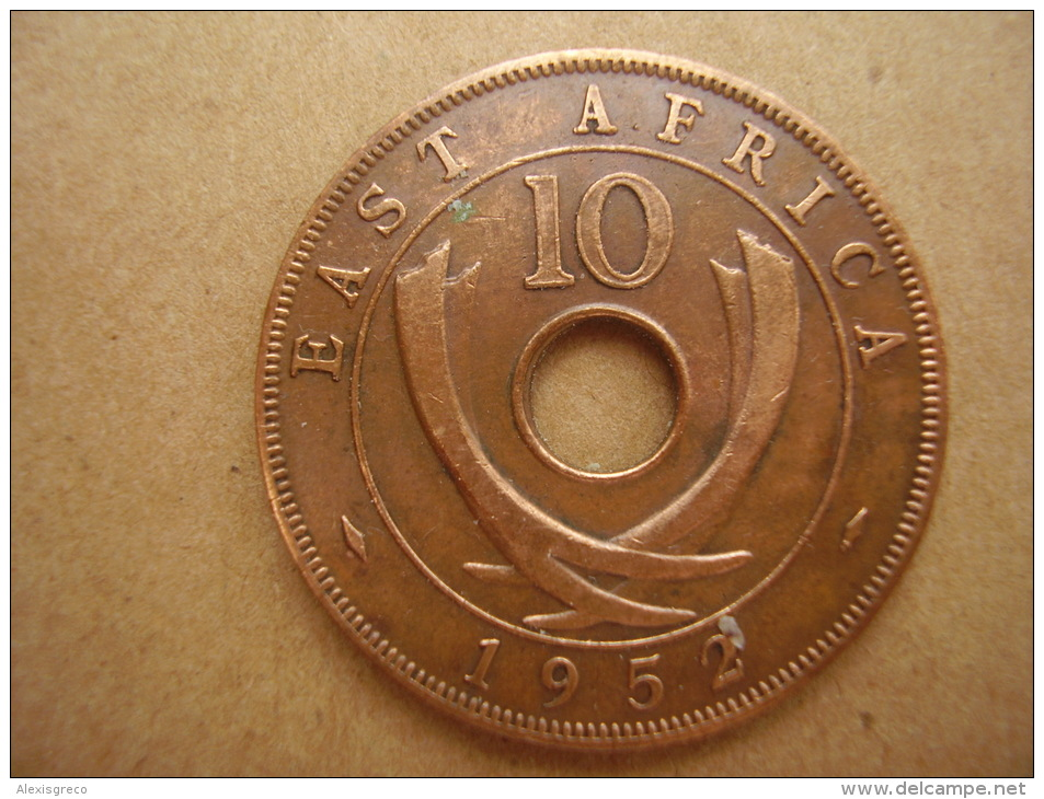 BRITISH EAST AFRICA USED TEN CENT COIN BRONZE Of 1952 - George VI. - British Colony