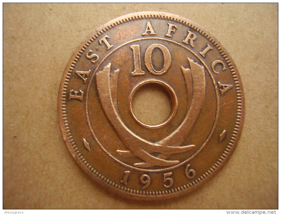 BRITISH EAST AFRICA USED TEN CENT COIN BRONZE Of 1956 - George VI. - British Colony
