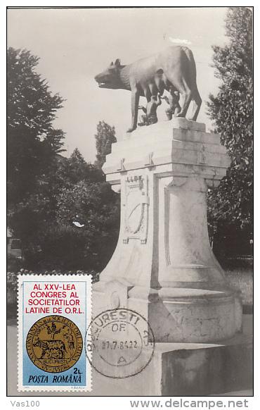 ORL CONGRESSUM, THE WOLF WITH CUBS, CM, MAXICARD, CARTES MAXIMUM, 1984, ROMANIA - Medicina