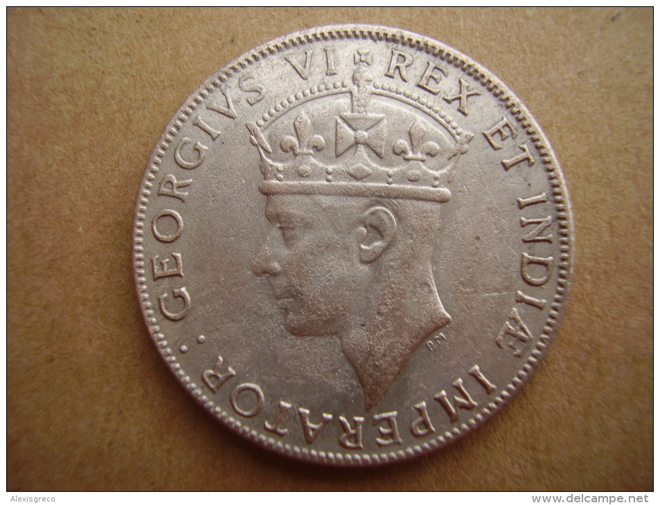 BRITISH EAST AFRICA USED ONE SHILLING 1942 I  .250 SILVER COIN. - British Colony