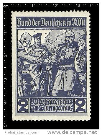 Old Original German Poster Stamp (Propaganda-Marke, Reklamemarke) Spendenmarke Bund Der Deutschen Soldier Soldat - Militaria