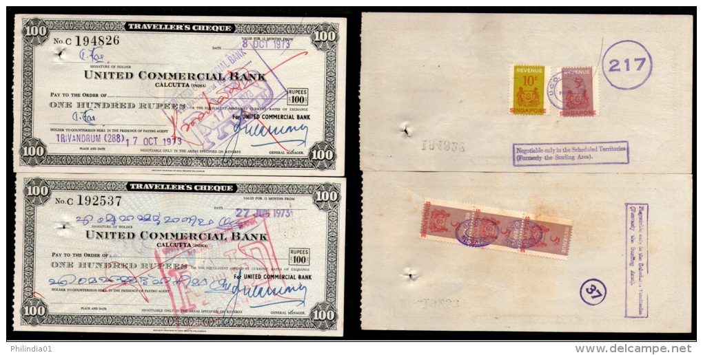 India United Commercial Bank Rs. 100 Travellers Cheque Singapore Revenue X2 # 6258D - Bank En Verzekering