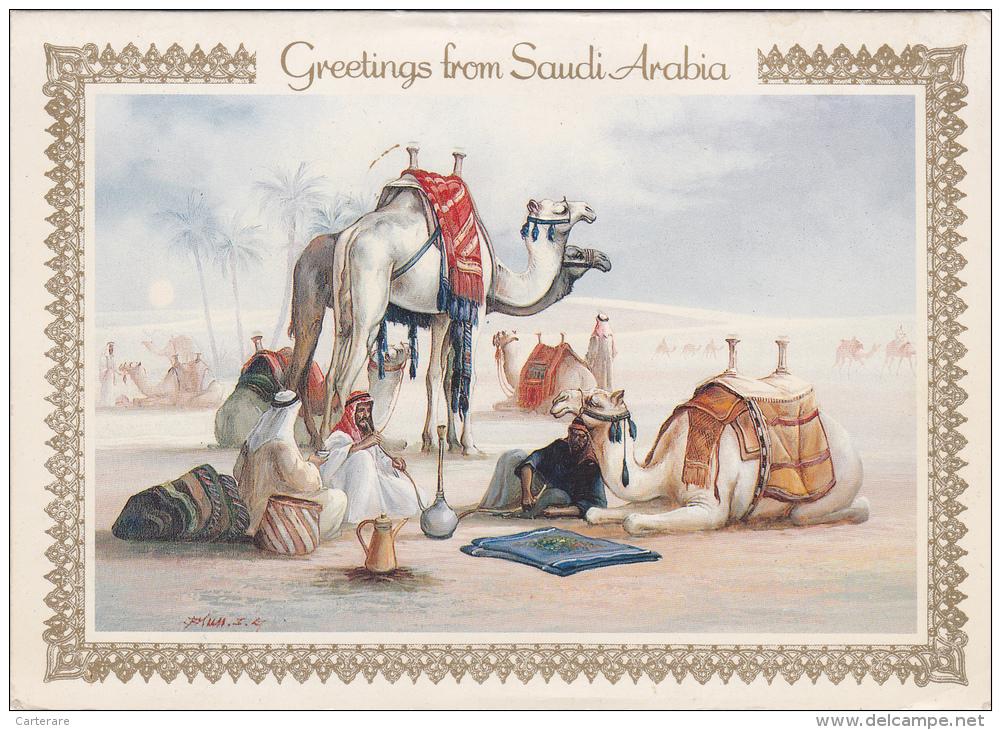 SAUDI ARABIA,ARABIE SAOUDITE,RIYADH,DESERT,CHAMEAU,CARTE DOUBLE,FETE,BONNE ANNEE,DESSIN EN RELIEF - Arabie Saoudite