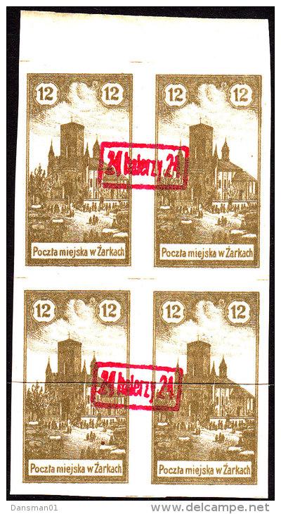 POLAND 1918 ZARKI Local Forgery Fi 6a Block Of 4 - ....-1919 Übergangsregierung