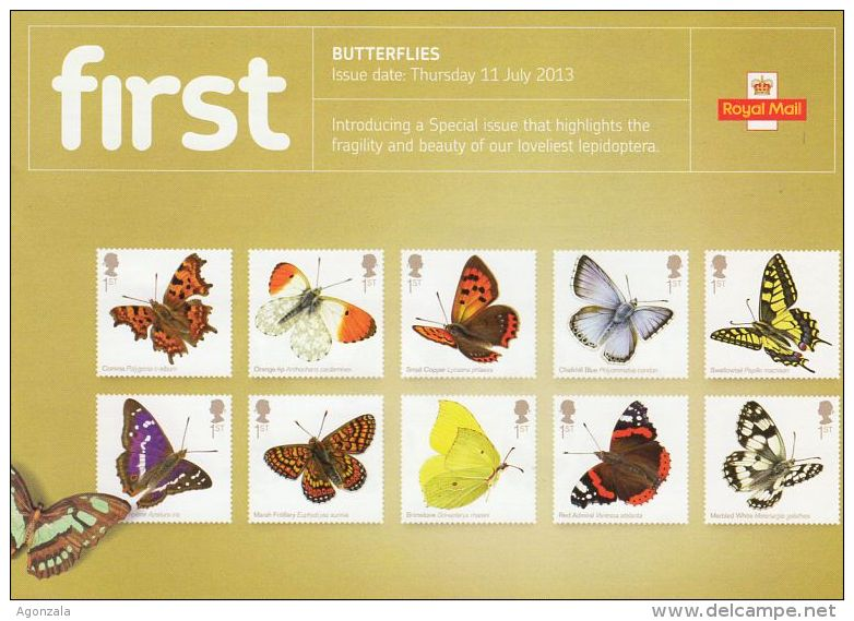ROYAL MAIL COMMUNICATION STAMPS TIMBRES EMISSION BUTTERFLIES PAPILLONS - Mariposas