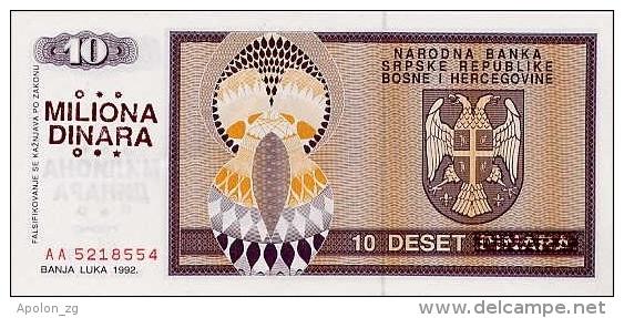 BOSNIA - BOSNIEN UND HERZEGOWINA,  10 Million Dinara ND1992  UNC *PNL, Ovpt. On 10 Dinara 1992  RARE! - Bosnië En Herzegovina