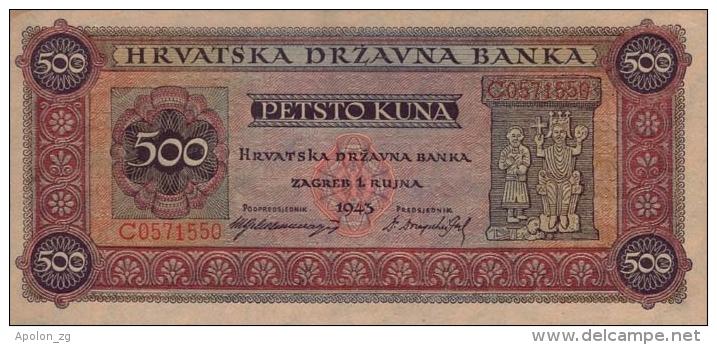 CROATIE - KROATIEN,  500 Kuna  1.9.1943 UNC  WWII - NDH - USTASHA * UNIFACE COPY - REPRODUCTION* Original Is Very Rare! - Kroatië