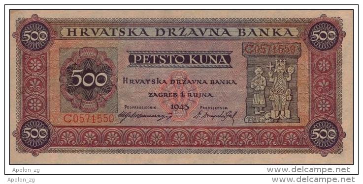 CROATIE - KROATIEN,  500 Kuna  1.9.1943 UNC  WWII - NDH - USTASHA * UNIFACE COPY - REPRODUCTION* Original Is Very Rare! - Croatia