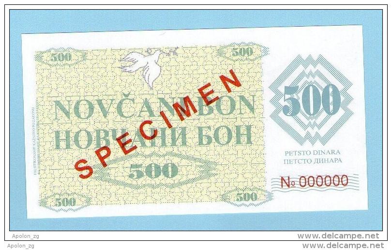 BOSNIA - BOSNIA Y HERZEGOVINA, 500 Dinara 1992 UNC SPECIMEN No. 000000. - Bosnia Y Herzegovina