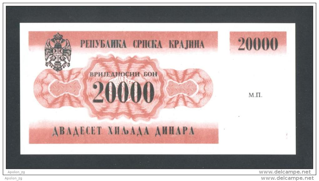 KROATIEN - CROATIE - KRAJINA,  20,000 Dinara 1991 UNC *P-RA2  , POSSIBLE FAKE? - Croatia