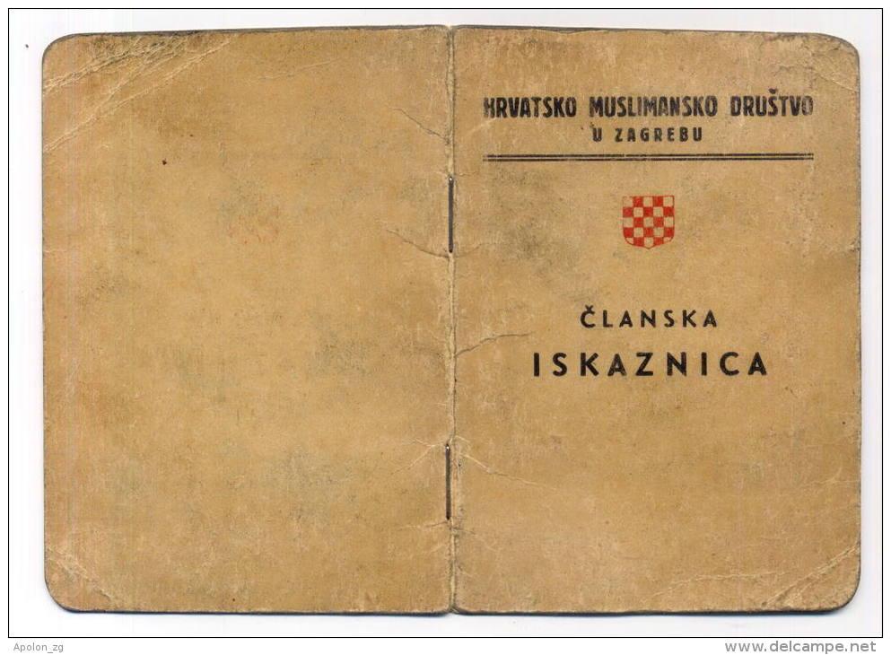 KROATIEN - CROATIA / Member Card *Muslim Union In Zagreb NDH-WORLD WAR II - USTASHA * EXTR. RARE! - Documenti