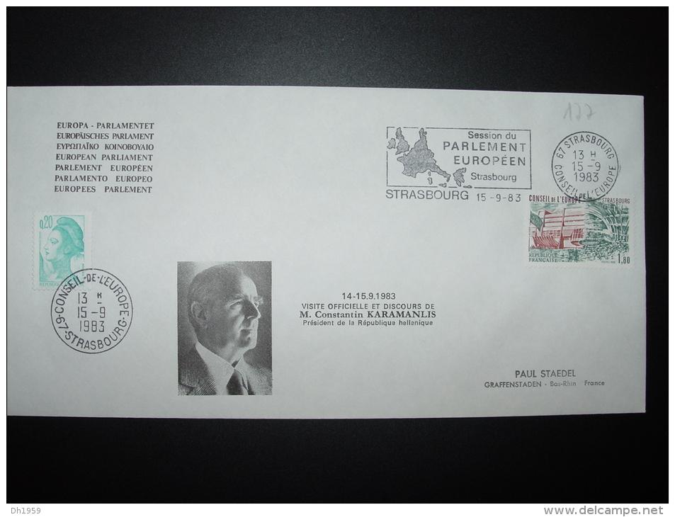 VISITE OFFICIELLE KARAMANLIS PRESIDENT 14/15.9.1983 GRECE GRIECHENLAND GREECE FDC CONSEIL DE L´EUROPE TIRAGE LIMITE - Lettres & Documents