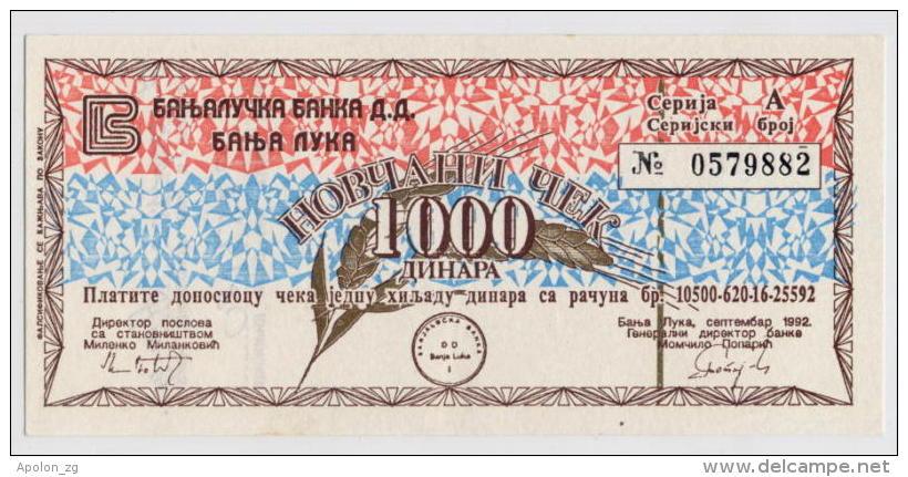 BOSNIA - BOSNIEN UND HERZEGOWINA: 1000 Dinara1992 AUNC * MILITARY CHECK - BANJA LUKA * NOT CANCELLED - Bosnia Erzegovina