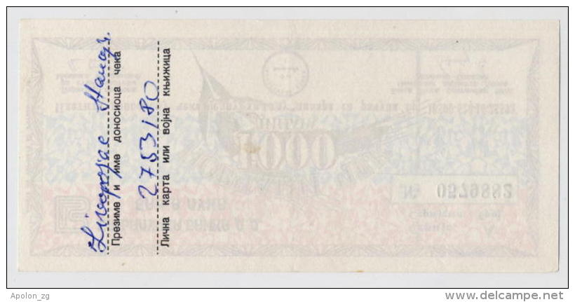 BOSNIA - BOSNIEN UND HERZEGOWINA: 1000 Dinara1992 AUNC * MILITARY CHECK - BANJA LUKA * NOT CANCELLED - Bosnia Y Herzegovina