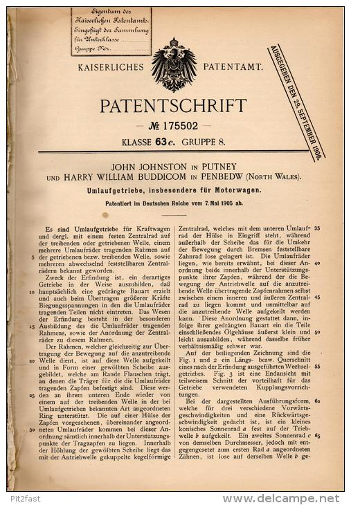 Original Patentschrift - H. Buddicom In Penbedw Und Putney , 1905 , Transmissions For Automobiles, Motor Car !!! - Cars