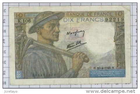 10 Francs Mineur, Ref Fayette 8-14, état TTB - 10 F 1941-1949 ''Mineur''