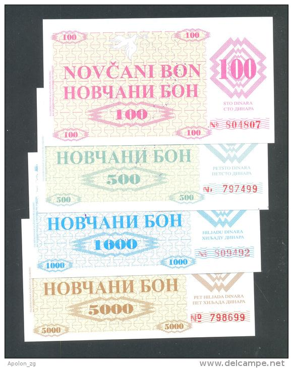 BOSNIA - BOSNIA ERZEGOVINA, 100, 500,1000 & 5000 Dinara 1992 UNC- *Handstamp: FILIJALA SARAJEVO ... On Back. - Bosnië En Herzegovina