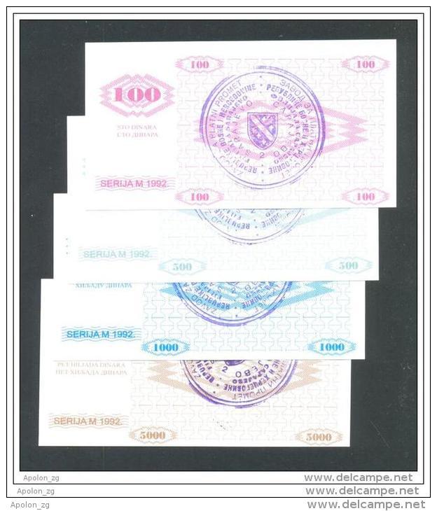 BOSNIA - BOSNIA ERZEGOVINA, 100, 500,1000 & 5000 Dinara 1992 UNC- *Handstamp: FILIJALA SARAJEVO ... On Back. - Bosnia And Herzegovina