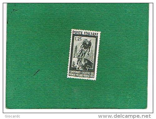 ITALIA REPUBBLICA -  UNIF. 669 - 1951 MONDIALI DI CICLISMO    - NUOVI ** (MINT) - 6. 1946-.. Republic