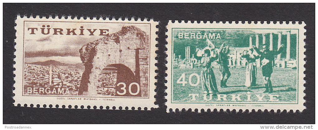 Turkey, Scott #1244-1245, Mint Never Hinged, 20th Anniv. Of The Kermis At Bergama, Issued 1957 - 1921-... Republic