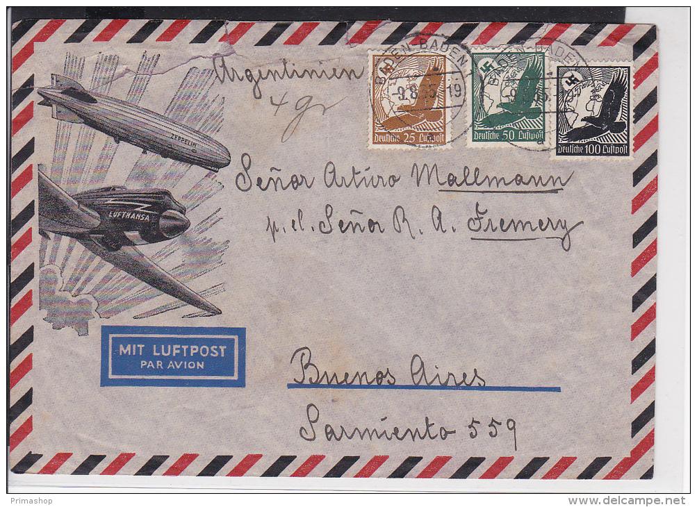 A22  /   Deutsches Reich Brief /  Luftpost Baden Baden - Buenos Aires Argentinien Prachtbrief - Alemania