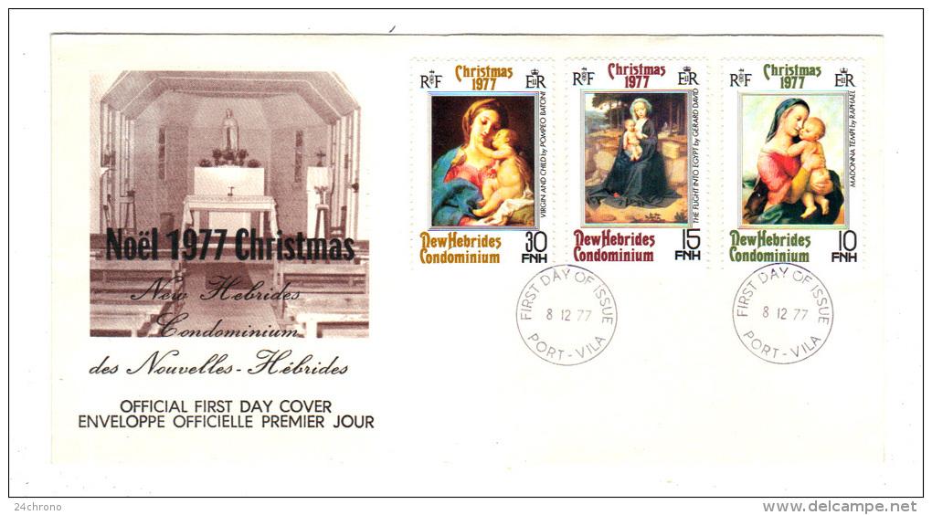 Premier Jour D´ Emission, FDC: Nouvelles Hebrides, Port Vila, Christmas, Noel, 1977, 08-12-77 (13-2975) - FDC