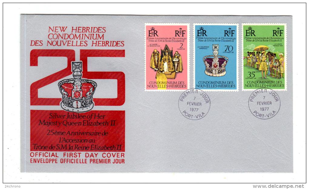 Premier Jour D´ Emission, FDC: Nouvelles Hebrides, Port Vila, 25è Anniversaire De L´ Accession Au Trone Reine Elizabeth - FDC