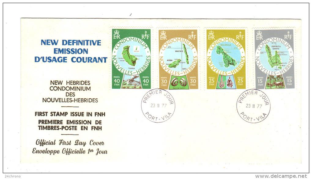 Premier Jour D´ Emission, FDC: Nouvelles Hebrides,Port Vila, New Definitive Emission D´ Usage Courant, 23-11-77 - FDC
